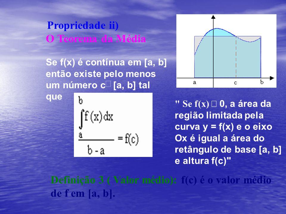 Definição 3 ( Valor médio): f(c) é o valor médio de f em [a, b].